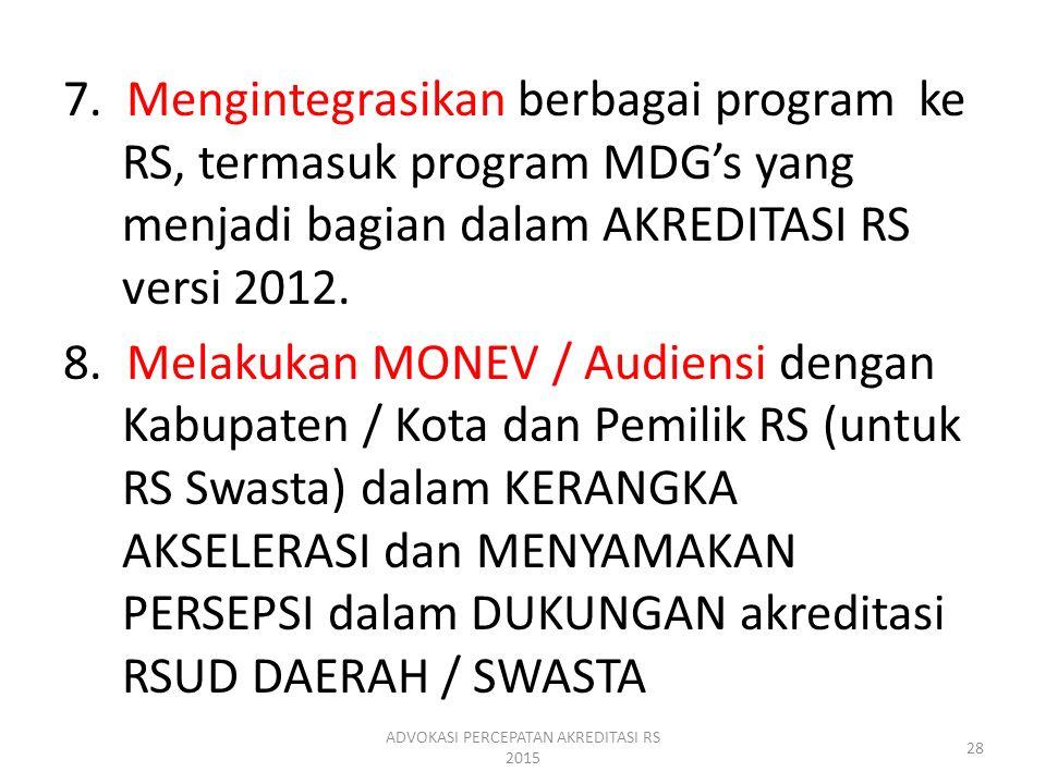 7. Mengintegrasikan berbagai program ke RS, termasuk program MDG's yang menjadi bagian dalam AKREDITASI RS versi 2012. 8. Melakukan MONEV / Audiensi d