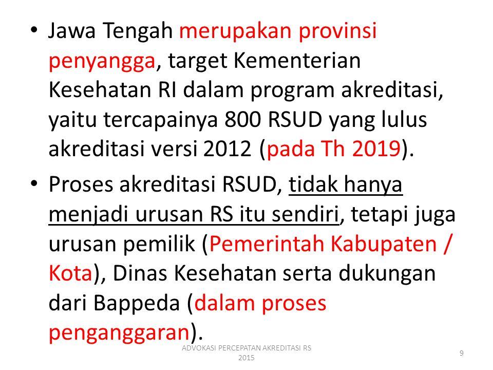 Jawa Tengah merupakan provinsi penyangga, target Kementerian Kesehatan RI dalam program akreditasi, yaitu tercapainya 800 RSUD yang lulus akreditasi v