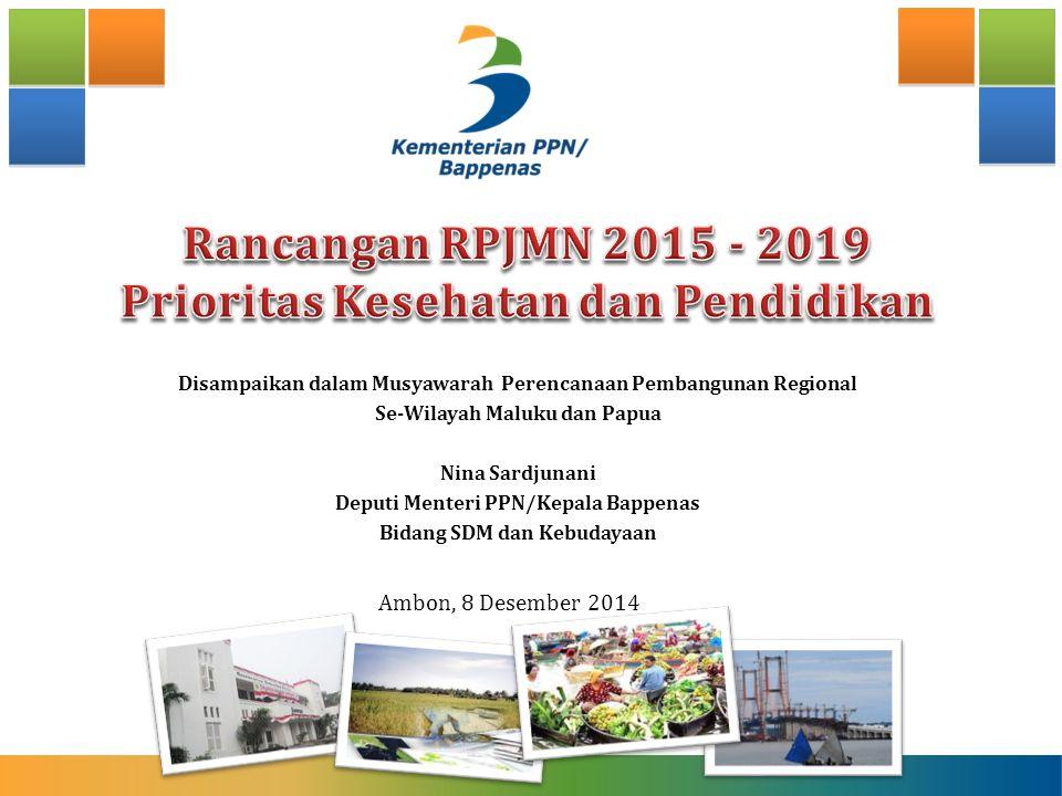 Disampaikan dalam Musyawarah Perencanaan Pembangunan Regional Se-Wilayah Maluku dan Papua Nina Sardjunani Deputi Menteri PPN/Kepala Bappenas Bidang SDM dan Kebudayaan Ambon, 8 Desember 2014