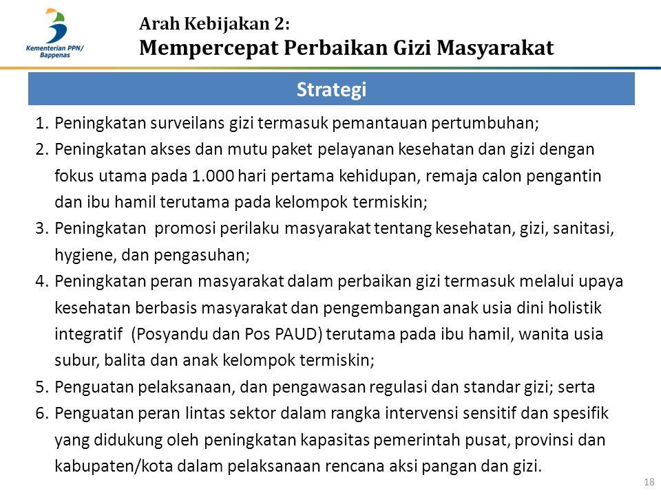 Arah Kebijakan 2: Mempercepat Perbaikan Gizi Masyarakat 18 Strategi 1.Peningkatan surveilans gizi termasuk pemantauan pertumbuhan; 2.Peningkatan akses