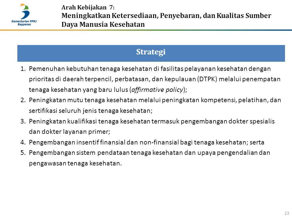 Arah Kebijakan 7: Meningkatkan Ketersediaan, Penyebaran, dan Kualitas Sumber Daya Manusia Kesehatan 23 Strategi 1.Pemenuhan kebutuhan tenaga kesehatan di fasilitas pelayanan kesehatan dengan prioritas di daerah terpencil, perbatasan, dan kepulauan (DTPK) melalui penempatan tenaga kesehatan yang baru lulus (affirmative policy); 2.Peningkatan mutu tenaga kesehatan melalui peningkatan kompetensi, pelatihan, dan sertifikasi seluruh jenis tenaga kesehatan; 3.Peningkatan kualifikasi tenaga kesehatan termasuk pengembangan dokter spesialis dan dokter layanan primer; 4.Pengembangan insentif finansial dan non-finansial bagi tenaga kesehatan; serta 5.Pengembangan sistem pendataan tenaga kesehatan dan upaya pengendalian dan pengawasan tenaga kesehatan.