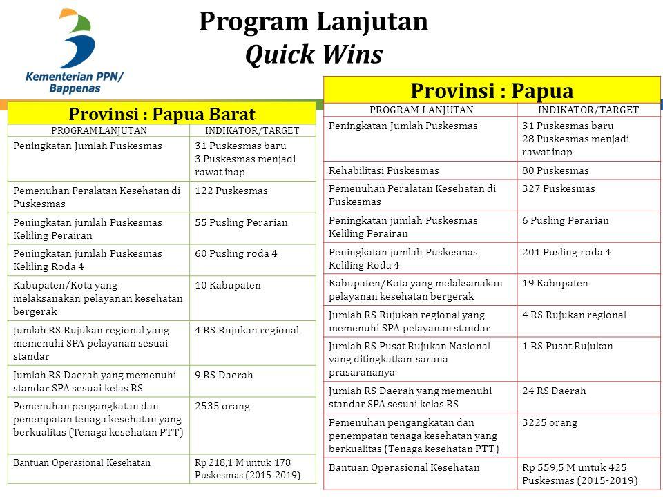 Program Lanjutan Quick Wins 30 Provinsi : Papua PROGRAM LANJUTANINDIKATOR/TARGET Peningkatan Jumlah Puskesmas31 Puskesmas baru 28 Puskesmas menjadi ra