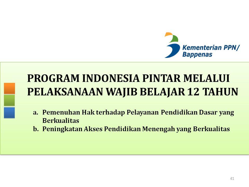 PROGRAM INDONESIA PINTAR MELALUI PELAKSANAAN WAJIB BELAJAR 12 TAHUN 41 a.Pemenuhan Hak terhadap Pelayanan Pendidikan Dasar yang Berkualitas b.Peningkatan Akses Pendidikan Menengah yang Berkualitas