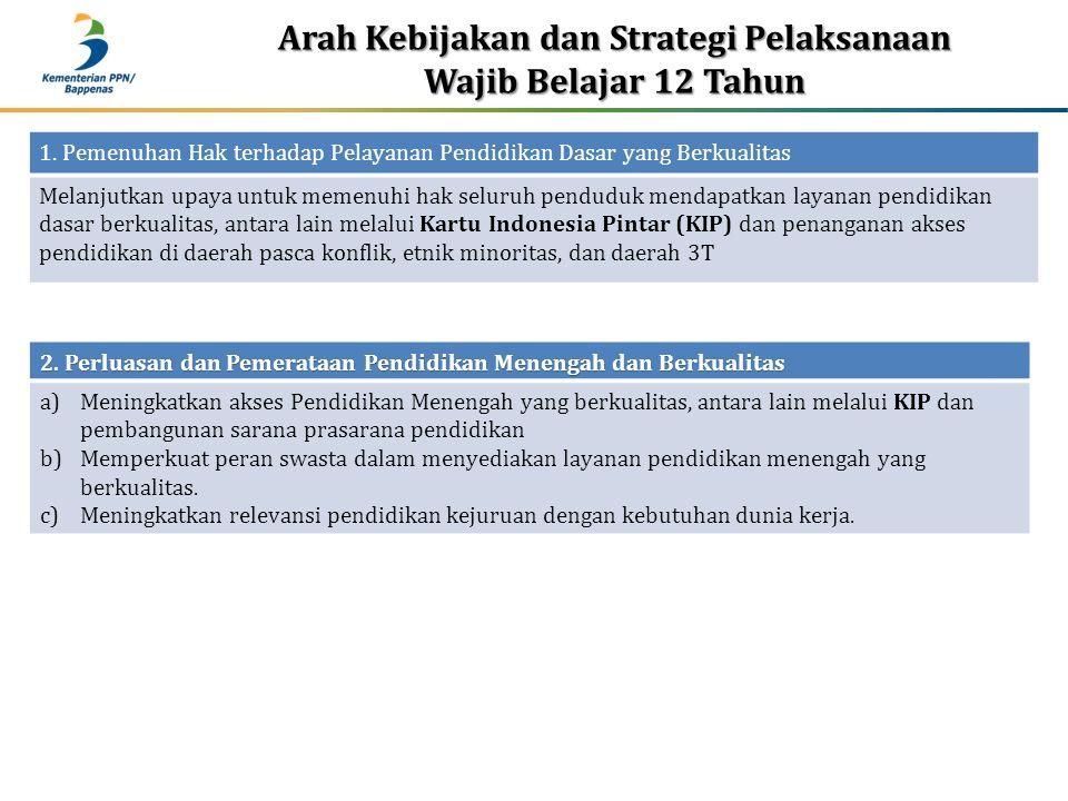 Arah Kebijakan dan Strategi Pelaksanaan Wajib Belajar 12 Tahun 1.