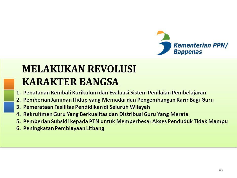 MELAKUKAN REVOLUSI KARAKTER BANGSA 43 1.Penatanan Kembali Kurikulum dan Evaluasi Sistem Penilaian Pembelajaran 2.Pemberian Jaminan Hidup yang Memadai