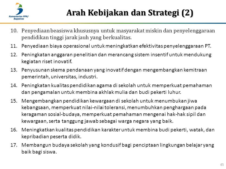 Arah Kebijakan dan Strategi (2) 45 10.Penyediaan beasiswa khususnya untuk masyarakat miskin dan penyelenggaraan pendidikan tinggi jarak jauh yang berkualitas.