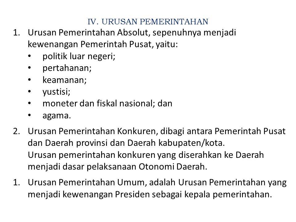 III. KONSTRUKSI PENYELENGGARAAN PEMERINTAHAN DAERAH Pembentukan Daerah Otonom Jabatan2 Pengisian Personil KDH & DPRD Penyerahan Urusan RAKYAT (PUBLIC