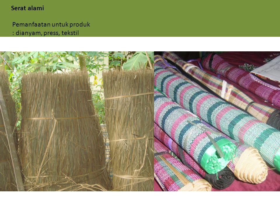 Serat alami Pemanfaatan untuk produk : dianyam, press, tekstil