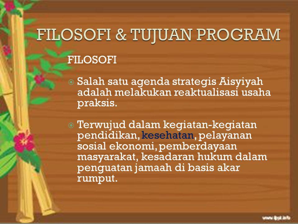 FILOSOFI  Salah satu agenda strategis Aisyiyah adalah melakukan reaktualisasi usaha praksis.