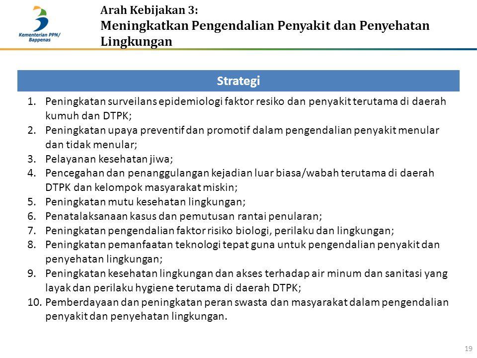 Arah Kebijakan 3: Meningkatkan Pengendalian Penyakit dan Penyehatan Lingkungan 19 Strategi 1.Peningkatan surveilans epidemiologi faktor resiko dan pen