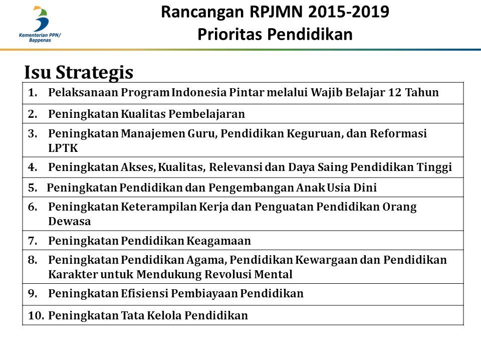 1.Pelaksanaan Program Indonesia Pintar melalui Wajib Belajar 12 Tahun 2.Peningkatan Kualitas Pembelajaran 3.Peningkatan Manajemen Guru, Pendidikan Keg