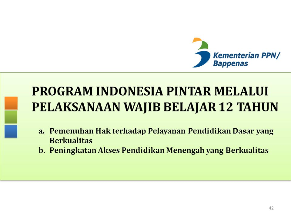 PROGRAM INDONESIA PINTAR MELALUI PELAKSANAAN WAJIB BELAJAR 12 TAHUN 42 a.Pemenuhan Hak terhadap Pelayanan Pendidikan Dasar yang Berkualitas b.Peningka