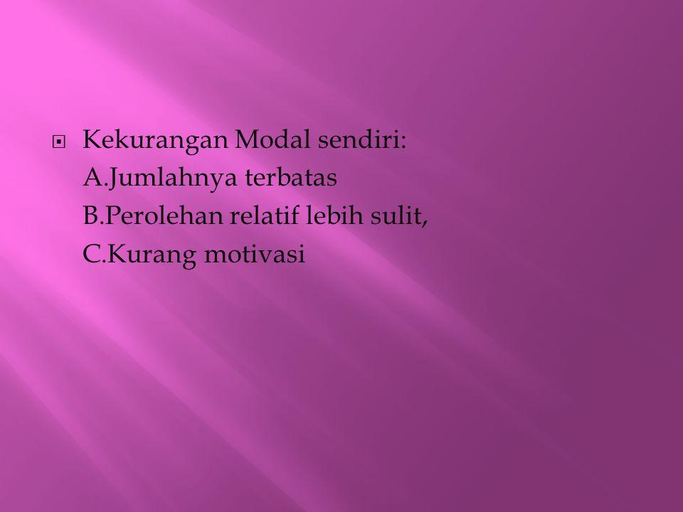  Kekurangan Modal sendiri: A.Jumlahnya terbatas B.Perolehan relatif lebih sulit, C.Kurang motivasi