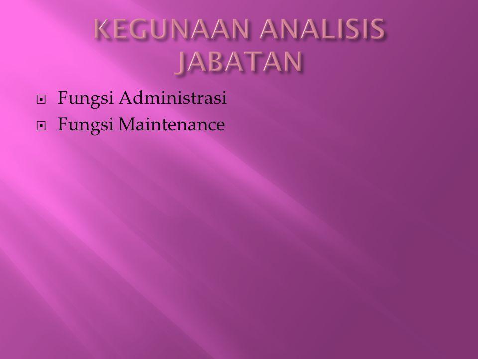  Fungsi Administrasi  Fungsi Maintenance