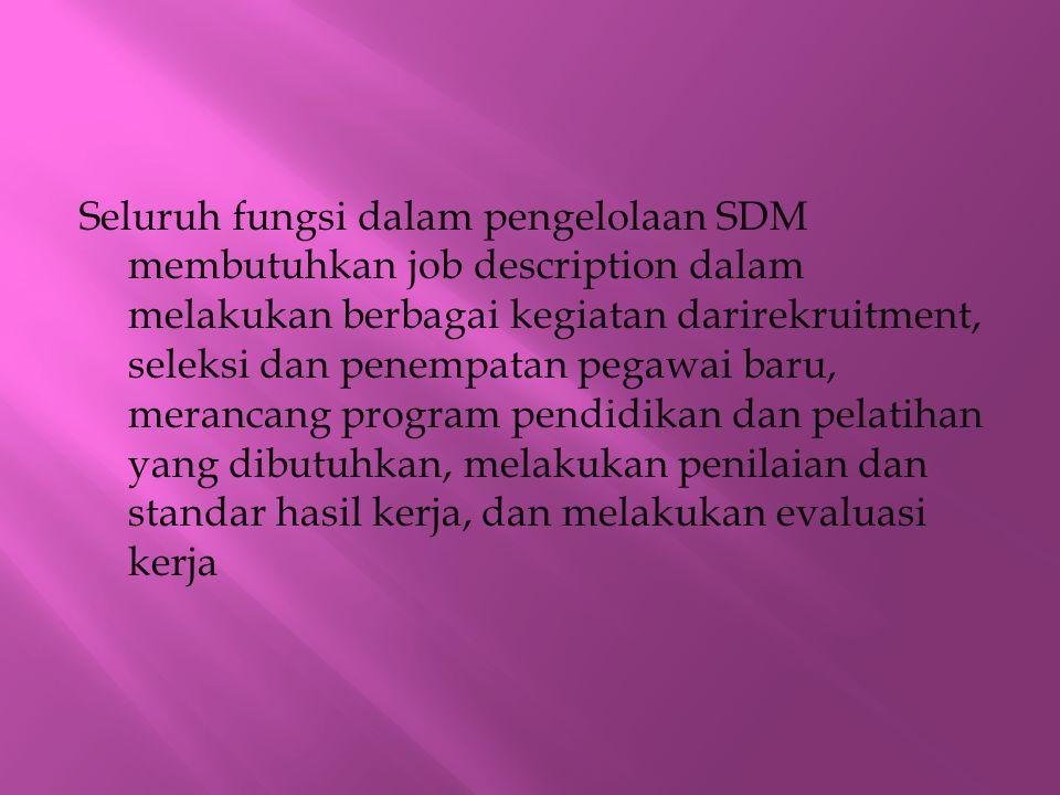Seluruh fungsi dalam pengelolaan SDM membutuhkan job description dalam melakukan berbagai kegiatan darirekruitment, seleksi dan penempatan pegawai bar