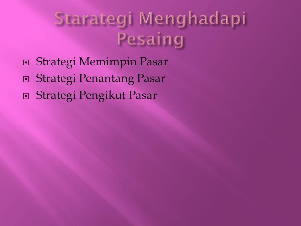  Strategi Memimpin Pasar  Strategi Penantang Pasar  Strategi Pengikut Pasar
