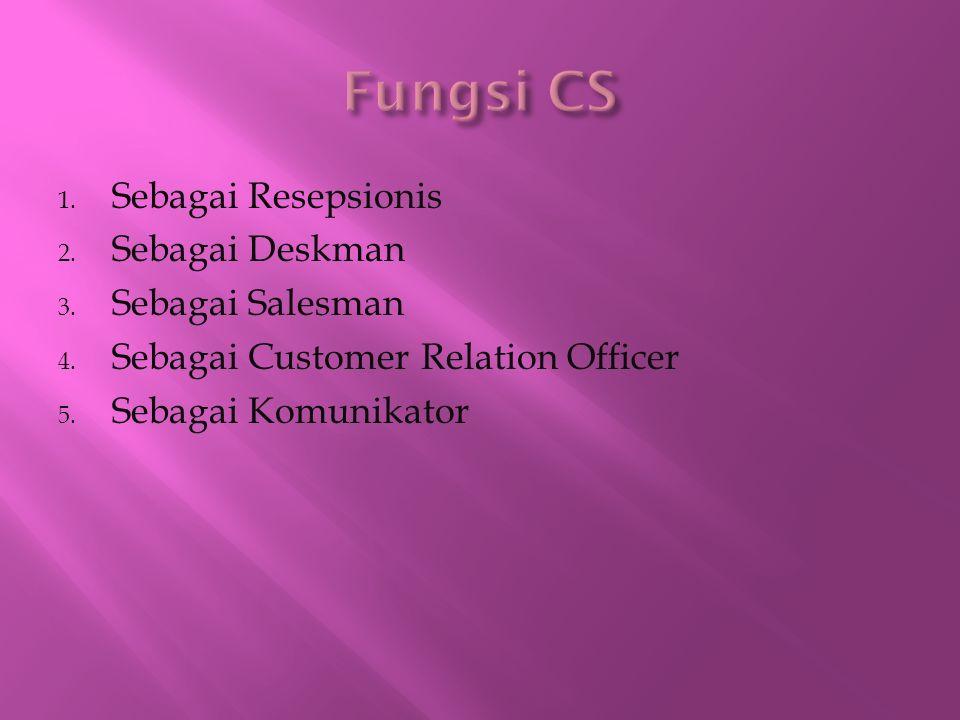 1. Sebagai Resepsionis 2. Sebagai Deskman 3. Sebagai Salesman 4. Sebagai Customer Relation Officer 5. Sebagai Komunikator