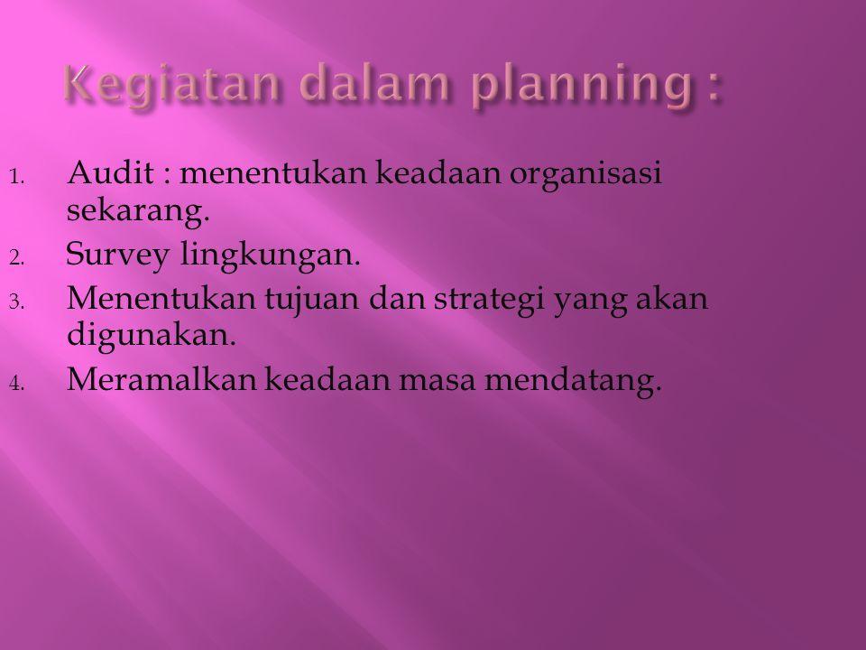 1. Audit : menentukan keadaan organisasi sekarang. 2. Survey lingkungan. 3. Menentukan tujuan dan strategi yang akan digunakan. 4. Meramalkan keadaan