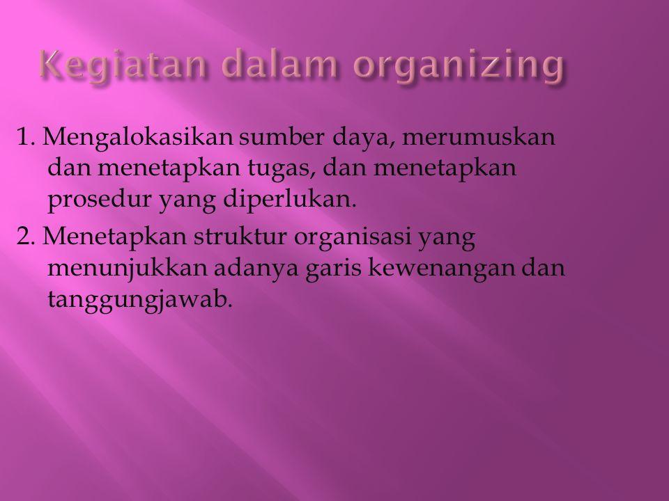 1. Mengalokasikan sumber daya, merumuskan dan menetapkan tugas, dan menetapkan prosedur yang diperlukan. 2. Menetapkan struktur organisasi yang menunj