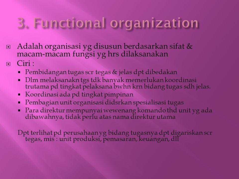  Adalah organisasi yg disusun berdasarkan sifat & macam-macam fungsi yg hrs dilaksanakan  Ciri :  Pembidangan tugas scr tegas & jelas dpt dibedakan