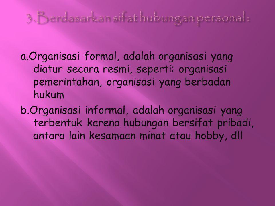 a.Organisasi formal, adalah organisasi yang diatur secara resmi, seperti: organisasi pemerintahan, organisasi yang berbadan hukum b.Organisasi informa