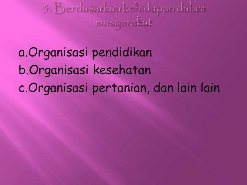 a.Organisasi pendidikan b.Organisasi kesehatan c.Organisasi pertanian, dan lain lain