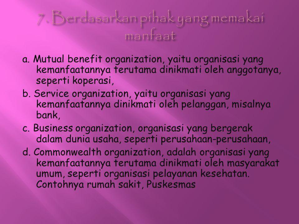 a. Mutual benefit organization, yaitu organisasi yang kemanfaatannya terutama dinikmati oleh anggotanya, seperti koperasi, b. Service organization, ya