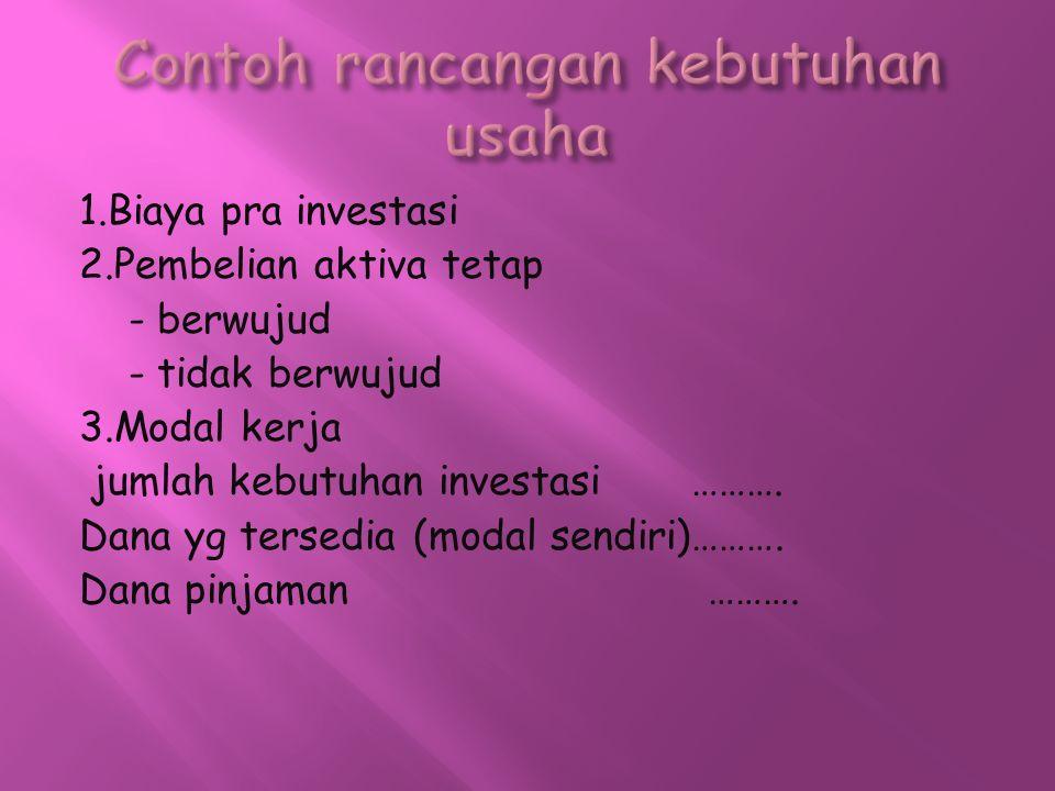 1.Biaya pra investasi 2.Pembelian aktiva tetap - berwujud - tidak berwujud 3.Modal kerja jumlah kebutuhan investasi ………. Dana yg tersedia (modal sendi