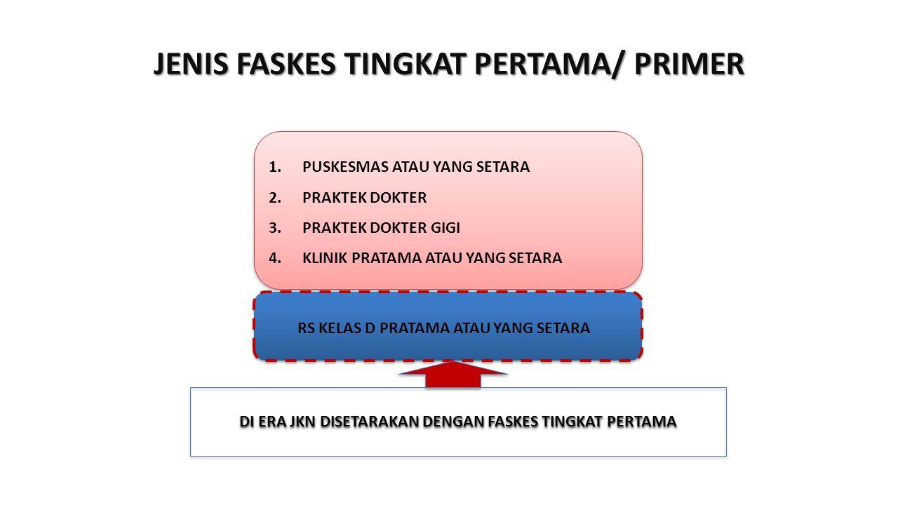 1.PUSKESMAS ATAU YANG SETARA 2.PRAKTEK DOKTER 3.PRAKTEK DOKTER GIGI 4.KLINIK PRATAMA ATAU YANG SETARA 1.PUSKESMAS ATAU YANG SETARA 2.PRAKTEK DOKTER 3.