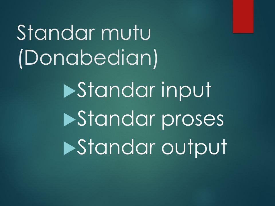 Standar mutu (Donabedian)  Standar input  Standar proses  Standar output