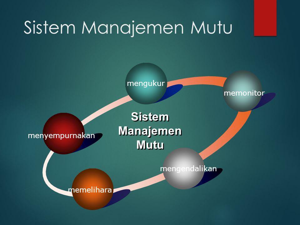 Sistem Manajemen Mutu menyempurnakan mengukur memonitor mengendalikan memelihara Sistem Manajemen Mutu