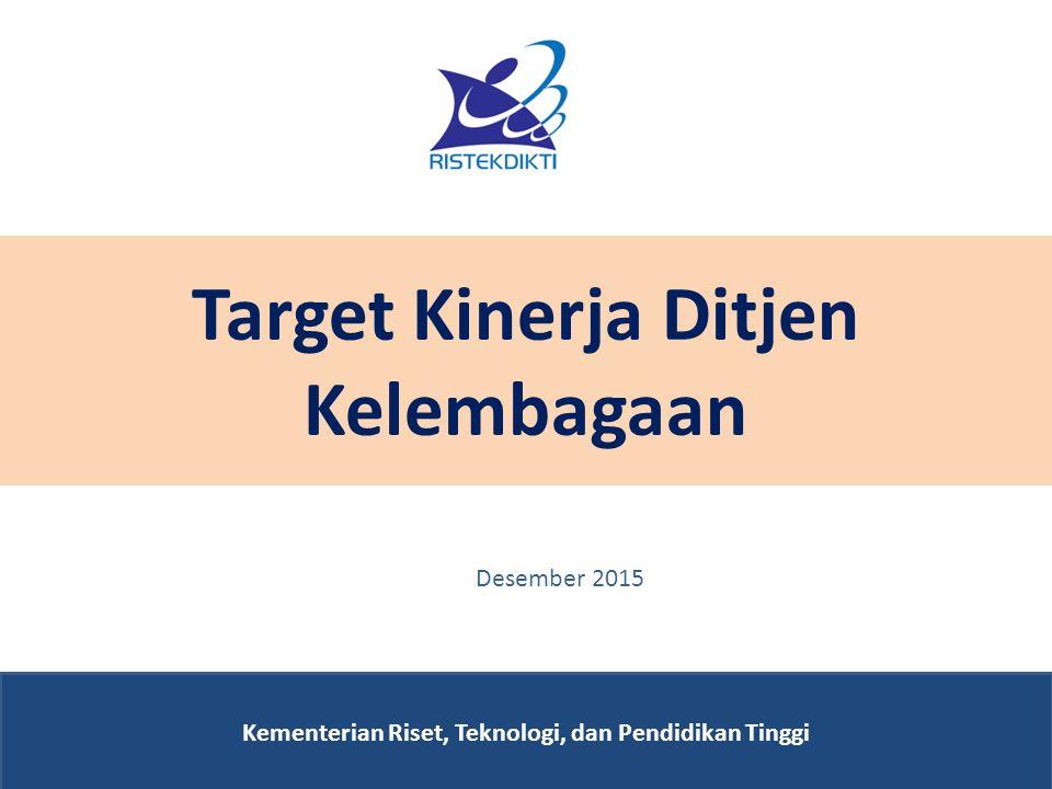 Target Kinerja Ditjen Kelembagaan Kementerian Riset, Teknologi, dan Pendidikan Tinggi Desember 2015