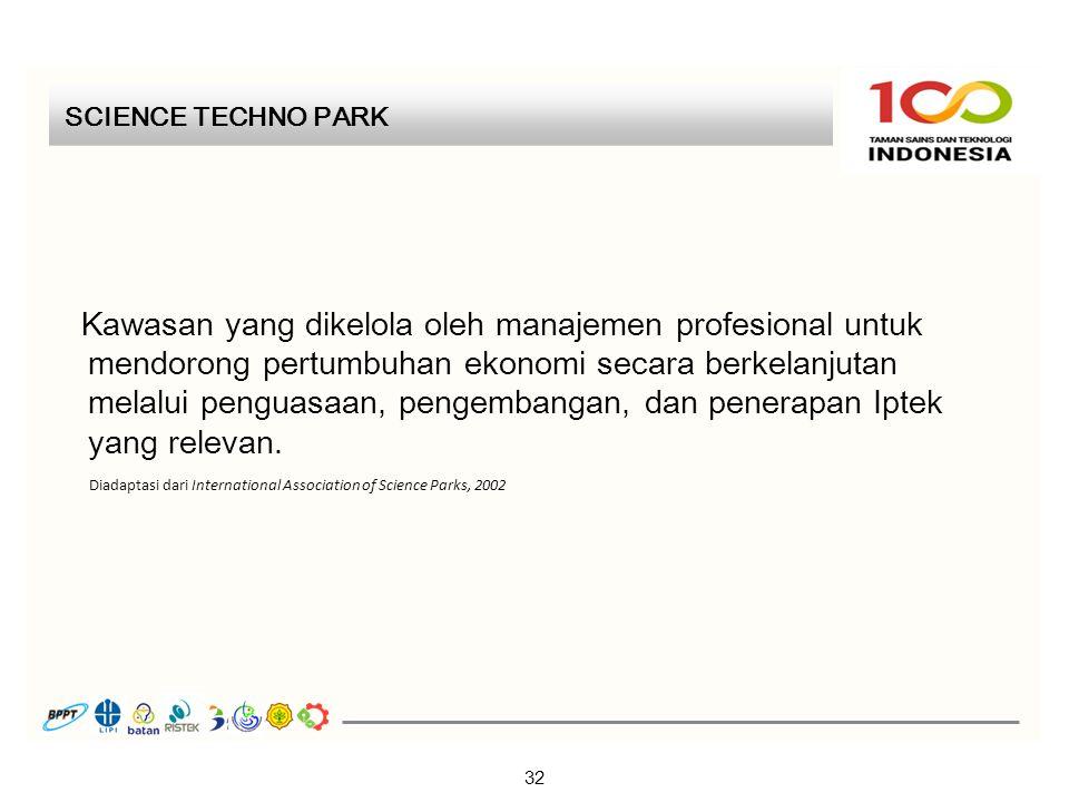 SCIENCE TECHNO PARK 32 Kawasan yang dikelola oleh manajemen profesional untuk mendorong pertumbuhan ekonomi secara berkelanjutan melalui penguasaan, pengembangan, dan penerapan Iptek yang relevan.