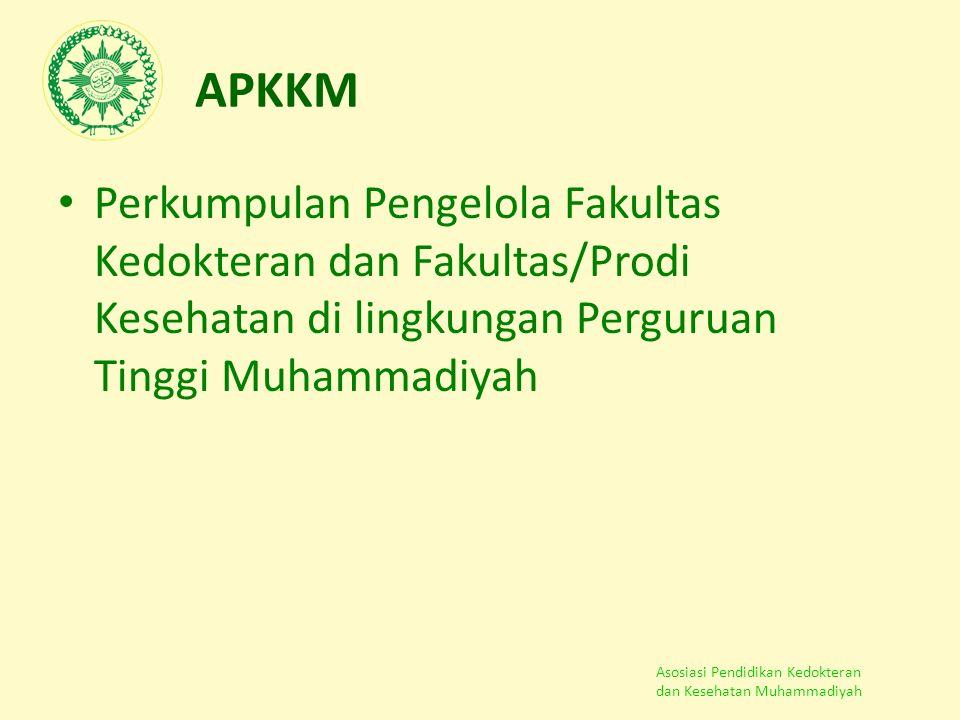 Asosiasi Pendidikan Kedokteran dan Kesehatan Muhammadiyah APKKM Perkumpulan Pengelola Fakultas Kedokteran dan Fakultas/Prodi Kesehatan di lingkungan P
