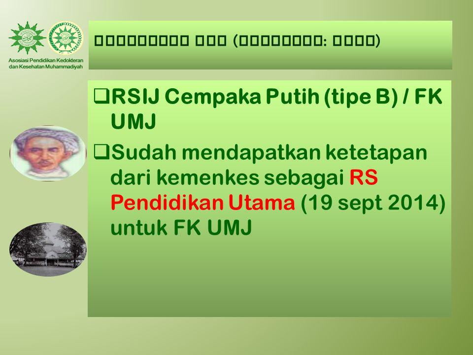 AUMKES-FK PTM ( Kategori : BAIK )  RSIJ Cempaka Putih (tipe B) / FK UMJ  Sudah mendapatkan ketetapan dari kemenkes sebagai RS Pendidikan Utama (19 s