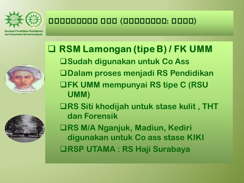 AUMKES-FK PTM ( Kategori : BAIK )  RSM Lamongan (tipe B) / FK UMM  Sudah digunakan untuk Co Ass  Dalam proses menjadi RS Pendidikan  FK UMM mempun