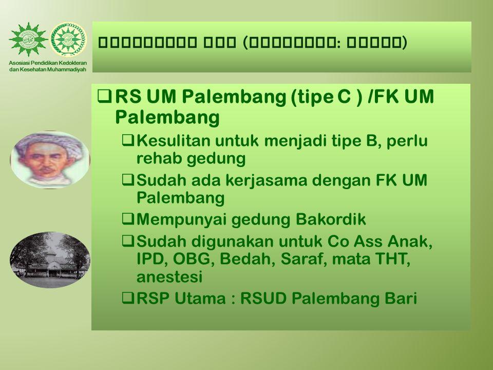 AUMKES-FK PTM ( Kategori : CUKUP )  RS UM Palembang (tipe C ) /FK UM Palembang  Kesulitan untuk menjadi tipe B, perlu rehab gedung  Sudah ada kerja