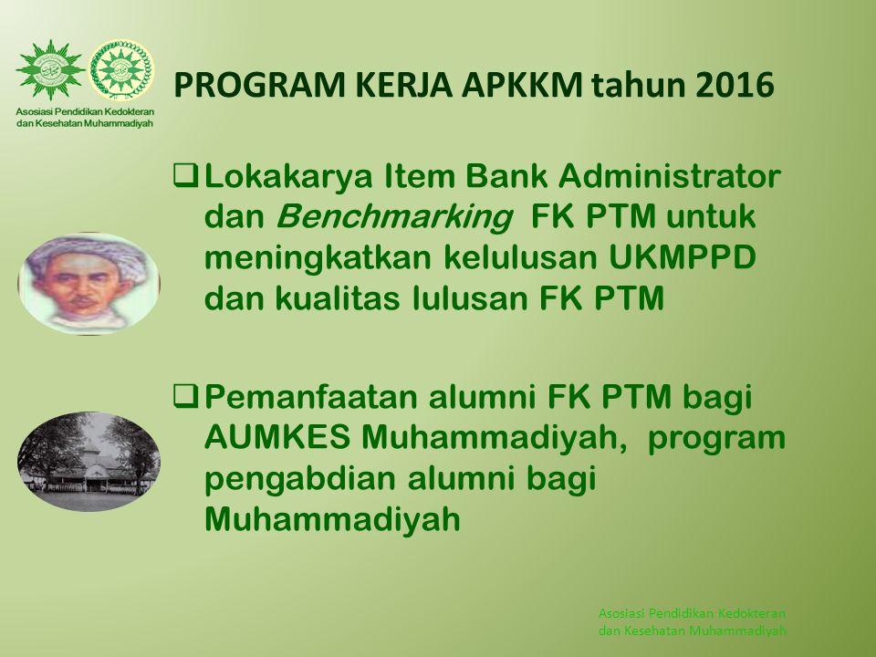 Asosiasi Pendidikan Kedokteran dan Kesehatan Muhammadiyah PROGRAM KERJA APKKM tahun 2016  Lokakarya Item Bank Administrator dan Benchmarking FK PTM u