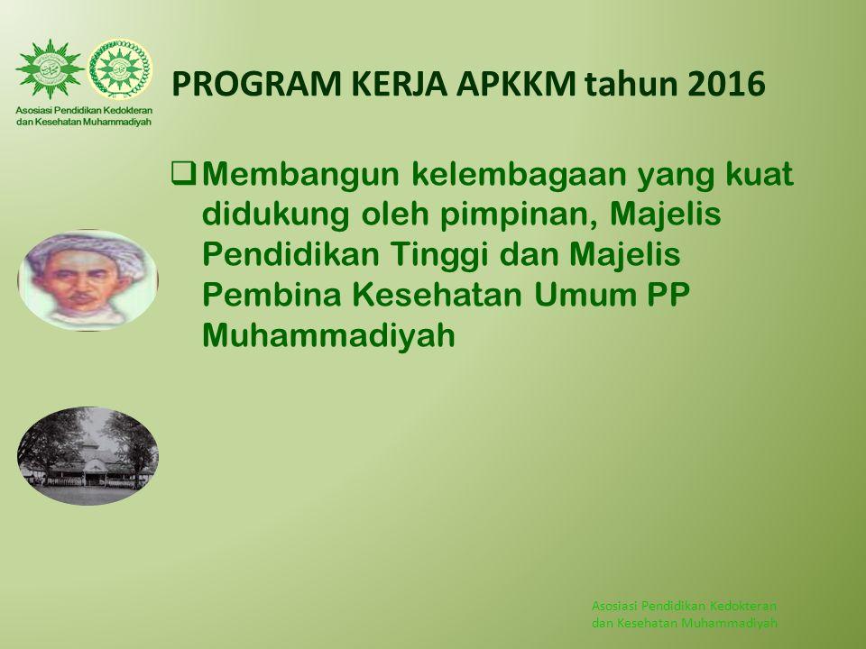 Asosiasi Pendidikan Kedokteran dan Kesehatan Muhammadiyah PROGRAM KERJA APKKM tahun 2016  Membangun kelembagaan yang kuat didukung oleh pimpinan, Maj