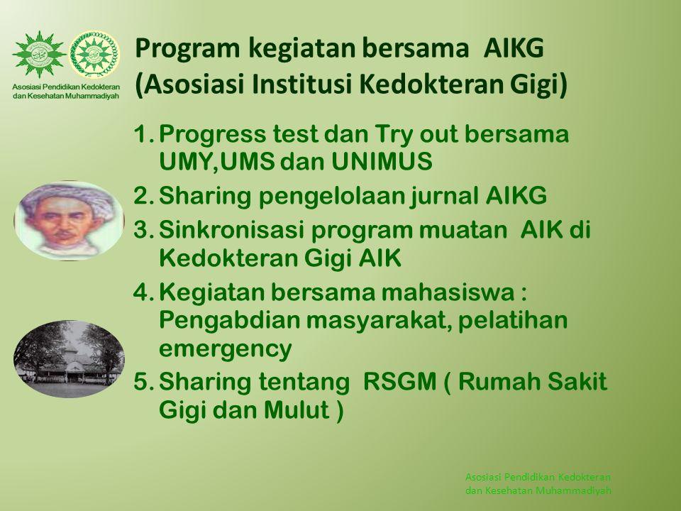 Asosiasi Pendidikan Kedokteran dan Kesehatan Muhammadiyah Program kegiatan bersama AIKG (Asosiasi Institusi Kedokteran Gigi) 1.Progress test dan Try o