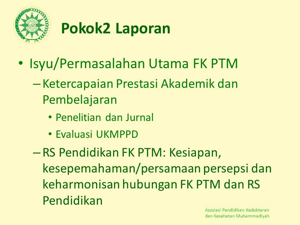 Asosiasi Pendidikan Kedokteran dan Kesehatan Muhammadiyah Pokok2 Laporan Isyu/Permasalahan Utama FK PTM – Ketercapaian Prestasi Akademik dan Pembelaja