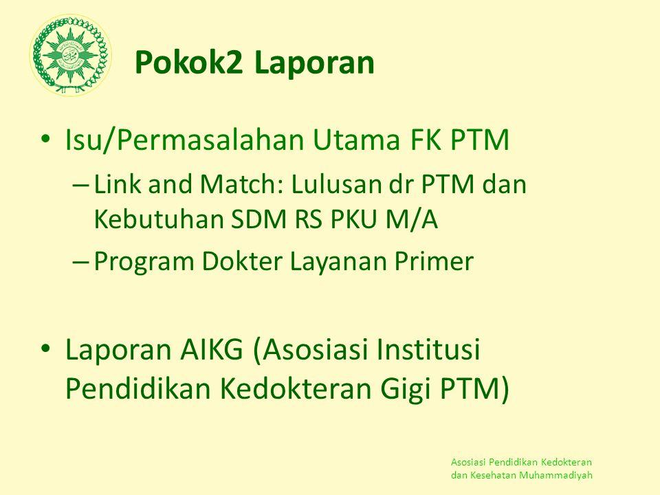Asosiasi Pendidikan Kedokteran dan Kesehatan Muhammadiyah Pokok2 Laporan Isu/Permasalahan Utama FK PTM – Link and Match: Lulusan dr PTM dan Kebutuhan
