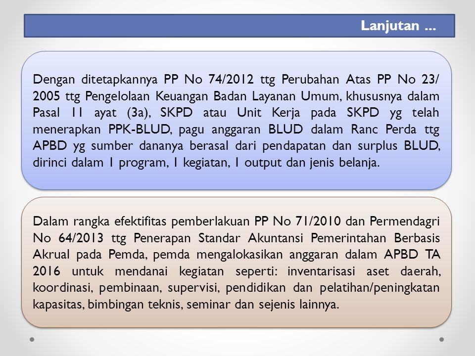 Dengan ditetapkannya PP No 74/2012 ttg Perubahan Atas PP No 23/ 2005 ttg Pengelolaan Keuangan Badan Layanan Umum, khususnya dalam Pasal 11 ayat (3a), SKPD atau Unit Kerja pada SKPD yg telah menerapkan PPK-BLUD, pagu anggaran BLUD dalam Ranc Perda ttg APBD yg sumber dananya berasal dari pendapatan dan surplus BLUD, dirinci dalam 1 program, 1 kegiatan, 1 output dan jenis belanja.
