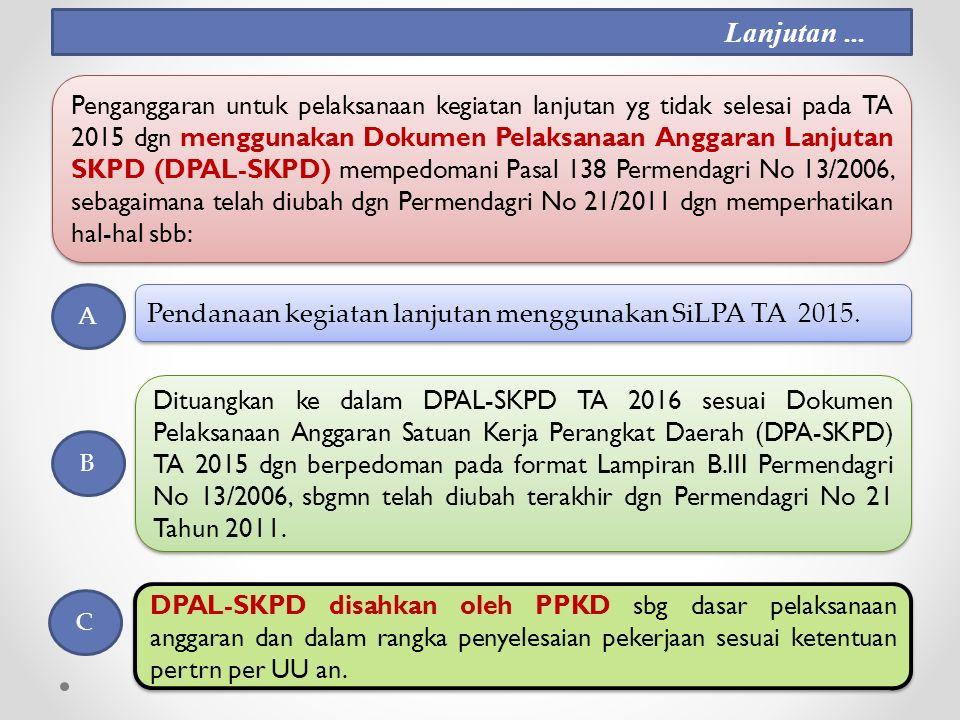 Pendanaan kegiatan lanjutan menggunakan SiLPA TA 2015.