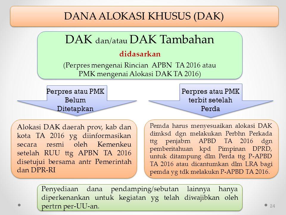 24 DAK dan/atau DAK Tambahan didasarkan (Perpres mengenai Rincian APBN TA 2016 atau PMK mengenai Alokasi DAK TA 2016) DAK dan/atau DAK Tambahan didasarkan (Perpres mengenai Rincian APBN TA 2016 atau PMK mengenai Alokasi DAK TA 2016) Perpres atau PMK Belum Ditetapkan DANA ALOKASI KHUSUS (DAK) Perpres atau PMK terbit setelah Perda Alokasi DAK daerah prov, kab dan kota TA 2016 yg diinformasikan secara resmi oleh Kemenkeu setelah RUU ttg APBN TA 2016 disetujui bersama antr Pemerintah dan DPR-RI Pemda harus menyesuaikan alokasi DAK dimksd dgn melakukan Perbhn Perkada ttg penjabrn APBD TA 2016 dgn pemberitahuan kpd Pimpinan DPRD, untuk ditampung dlm Perda ttg P-APBD TA 2016 atau dicantumkan dlm LRA bagi pemda yg tdk melakukn P-APBD TA 2016.