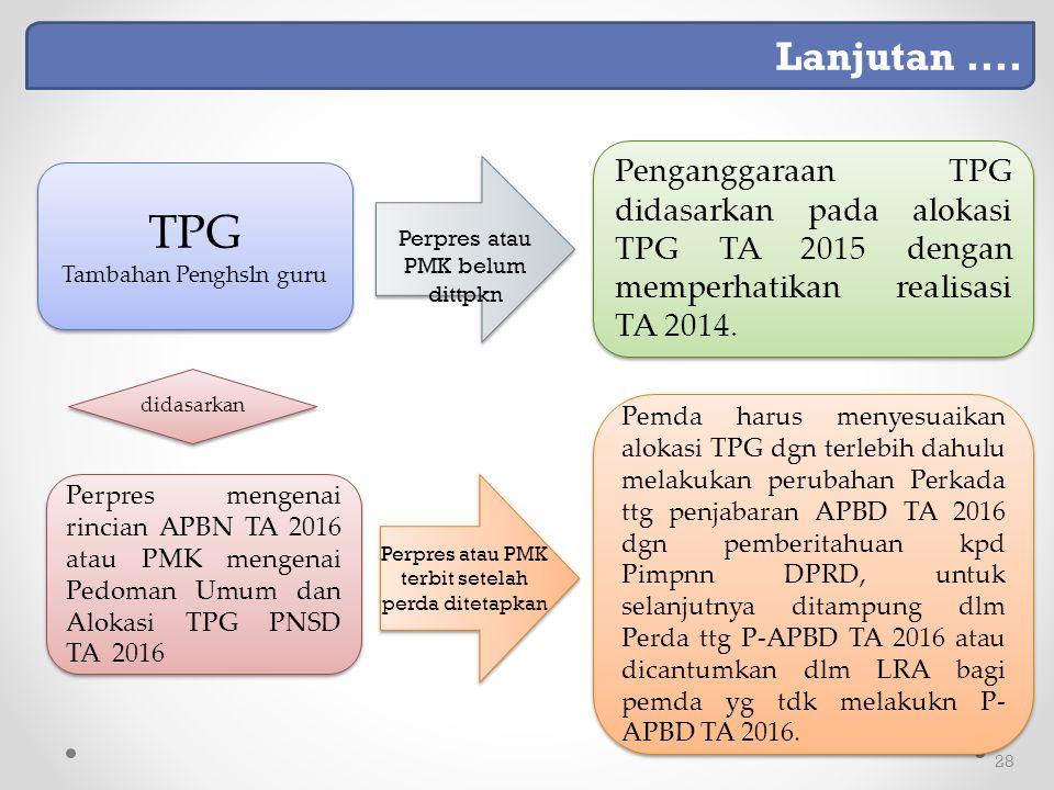 28 Perpres mengenai rincian APBN TA 2016 atau PMK mengenai Pedoman Umum dan Alokasi TPG PNSD TA 2016 didasarkan Pemda harus menyesuaikan alokasi TPG dgn terlebih dahulu melakukan perubahan Perkada ttg penjabaran APBD TA 2016 dgn pemberitahuan kpd Pimpnn DPRD, untuk selanjutnya ditampung dlm Perda ttg P-APBD TA 2016 atau dicantumkan dlm LRA bagi pemda yg tdk melakukn P- APBD TA 2016.