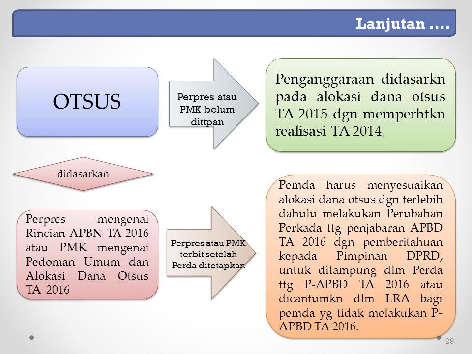 29 Perpres mengenai Rincian APBN TA 2016 atau PMK mengenai Pedoman Umum dan Alokasi Dana Otsus TA 2016 didasarkan Pemda harus menyesuaikan alokasi dana otsus dgn terlebih dahulu melakukan Perubahan Perkada ttg penjabaran APBD TA 2016 dgn pemberitahuan kepada Pimpinan DPRD, untuk ditampung dlm Perda ttg P-APBD TA 2016 atau dicantumkn dlm LRA bagi pemda yg tidak melakukan P- APBD TA 2016.