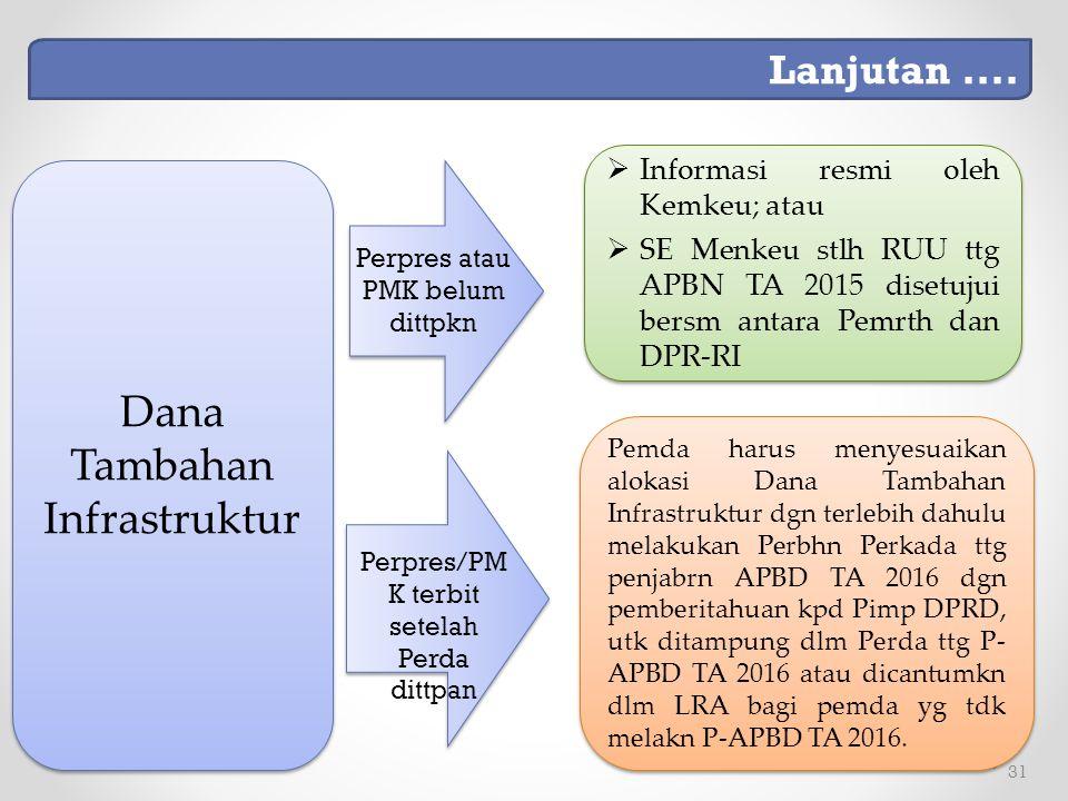 31 Pemda harus menyesuaikan alokasi Dana Tambahan Infrastruktur dgn terlebih dahulu melakukan Perbhn Perkada ttg penjabrn APBD TA 2016 dgn pemberitahuan kpd Pimp DPRD, utk ditampung dlm Perda ttg P- APBD TA 2016 atau dicantumkn dlm LRA bagi pemda yg tdk melakn P-APBD TA 2016.