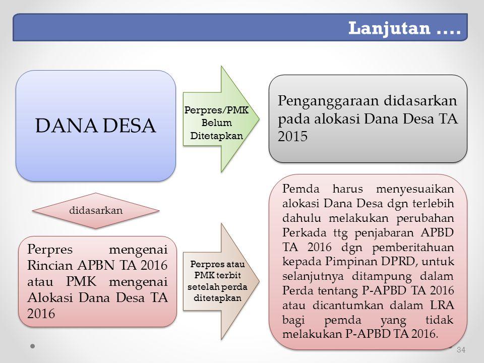 34 Perpres mengenai Rincian APBN TA 2016 atau PMK mengenai Alokasi Dana Desa TA 2016 didasarkan Pemda harus menyesuaikan alokasi Dana Desa dgn terlebih dahulu melakukan perubahan Perkada ttg penjabaran APBD TA 2016 dgn pemberitahuan kepada Pimpinan DPRD, untuk selanjutnya ditampung dalam Perda tentang P-APBD TA 2016 atau dicantumkan dalam LRA bagi pemda yang tidak melakukan P-APBD TA 2016.