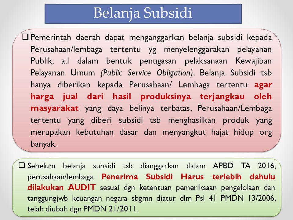  Pemerintah daerah dapat menganggarkan belanja subsidi kepada Perusahaan/lembaga tertentu yg menyelenggarakan pelayanan Publik, a.l dalam bentuk penugasan pelaksanaan Kewajiban Pelayanan Umum (Public Service Obligation).
